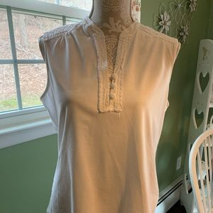Talbots white sleeveless top size XL
